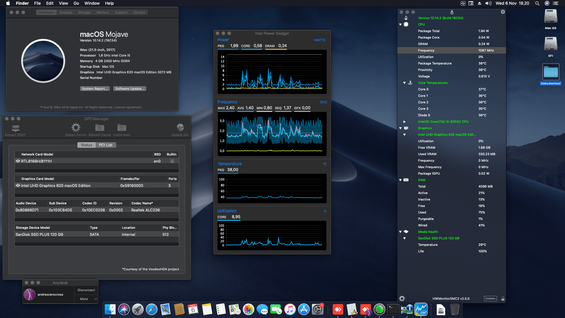 Success Hackintosh macOS Mojave 10.14.2 Build 18C54 at HP All In One Pavillion 22-C0052L